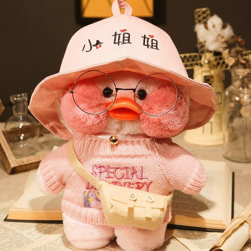 Happy Monkey Plush Doll Toys 30cm Kawaii Soft Stuffed Duck Doll Birthday Gift Toy For Kids Grownups