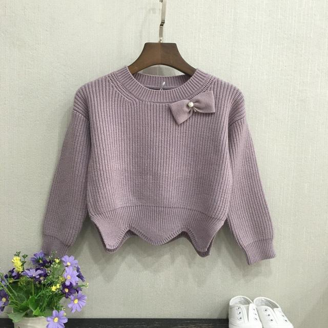 Tide sweater Korean solid color bow, girls sweater bottoming shirt