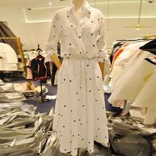 MAPUSITOM Heart Print Shirt font b dress b font for Women Elastic Waist Single Breasted White