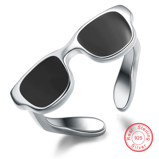 Sunglasses rings for men 100% S925 solid silver unisex ring Unique fine jewelry Wholesale wedding bands for lovers VCYE414