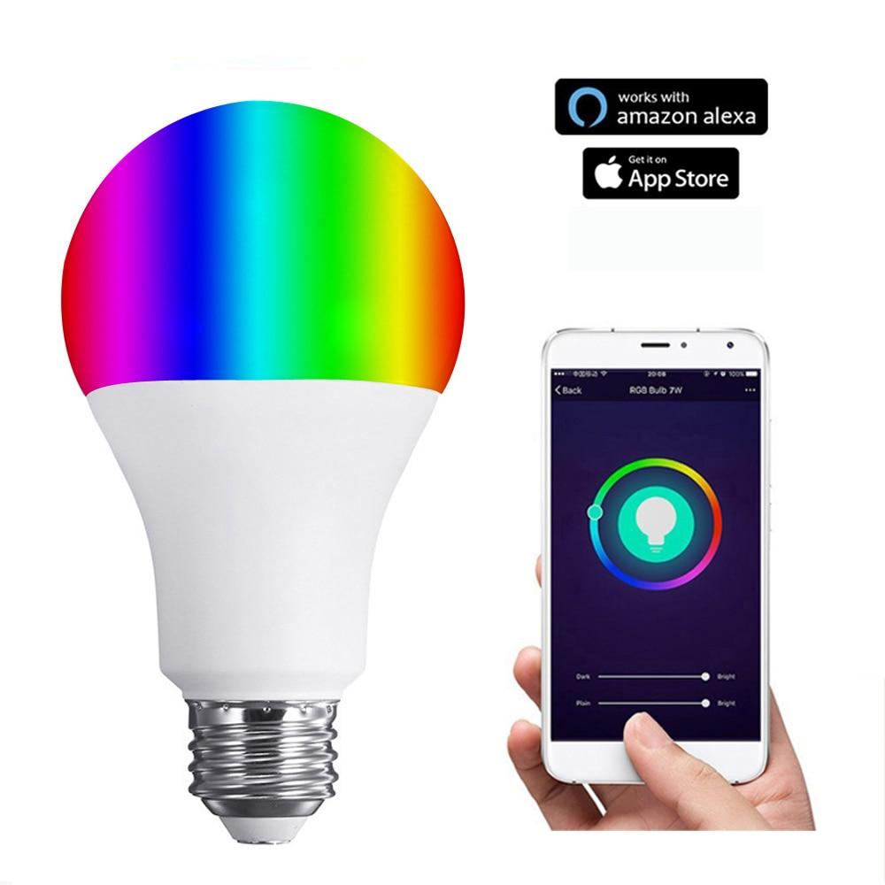buy jiawen 6w rgb wireless wifi led smart light bulb lamp work with echo alexa. Black Bedroom Furniture Sets. Home Design Ideas