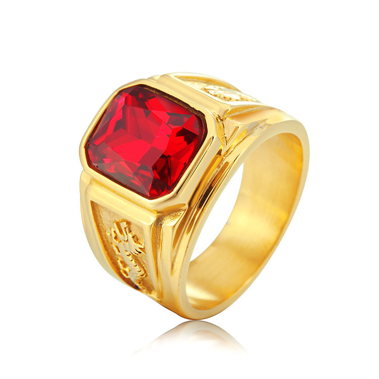 Men's Figment Ring with Red Blue Stone in Gold color Tone Stainless Steel Engraved Dragon Men Wedding Band for Male Jewelry(China)