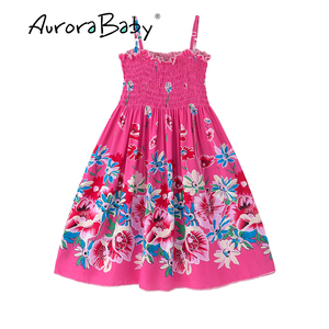 Image 4 - AuroraBaby Toddler Girls Maxi Dress For Summer Beach Casual Floral Printed Little Girl Dress Bohemian Style  Free Necklace