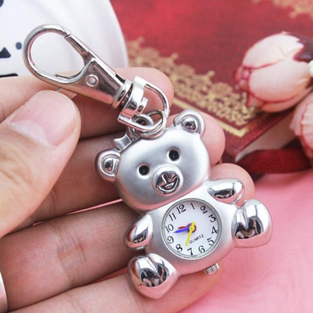 chaoyada 2018 NEW silver Tone Cartoon bear Sakura Star Wing Pocket Watch Dia 3cm