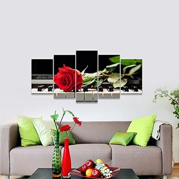 Red Rose on Piano Modern 5 Panels Stretched Framed Floral Giclee Canvas Prints Artwork Flowers Music  Painting Drop Shipping