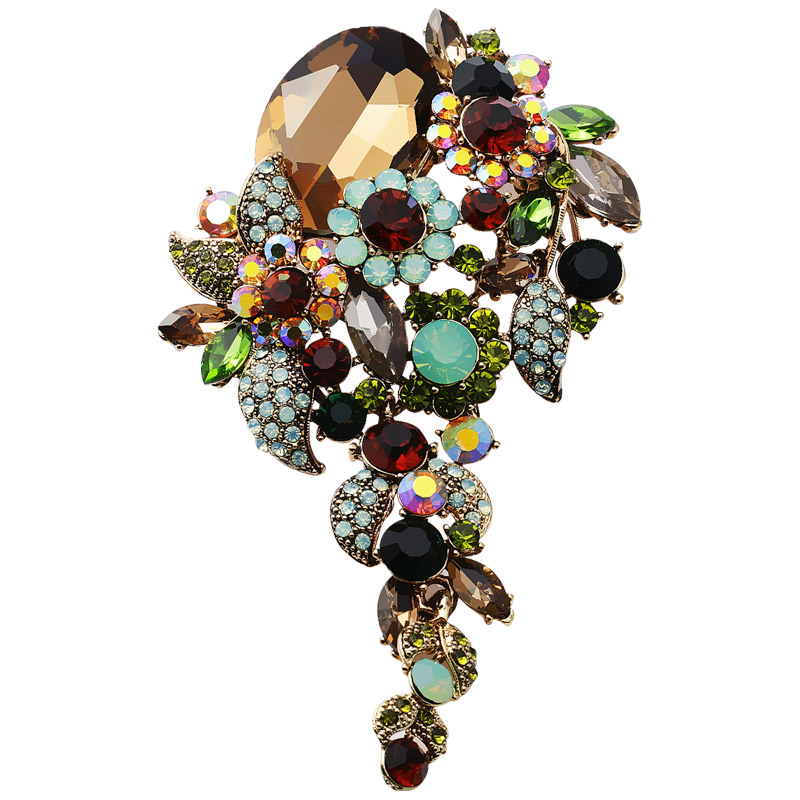 The new LINGLADY Crystal Brooch stage catwalk personality corsage pins folk style a birthday present