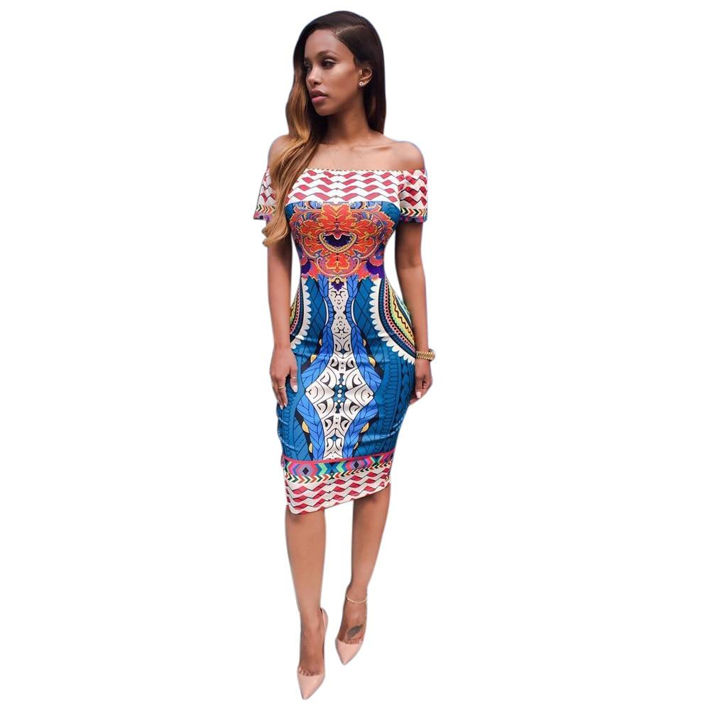 Modern dress casual - 2017 Brand New Summer Fashion Women Print Letter Modern Design Dress Slash Neck Collar Pretty Dress