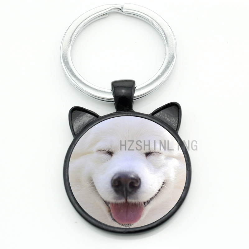 TAFREE New cute dog keychain lovely Samoyed puppy Chow Chow dog key chain ring holder animal pet lover jewelry men women CN721