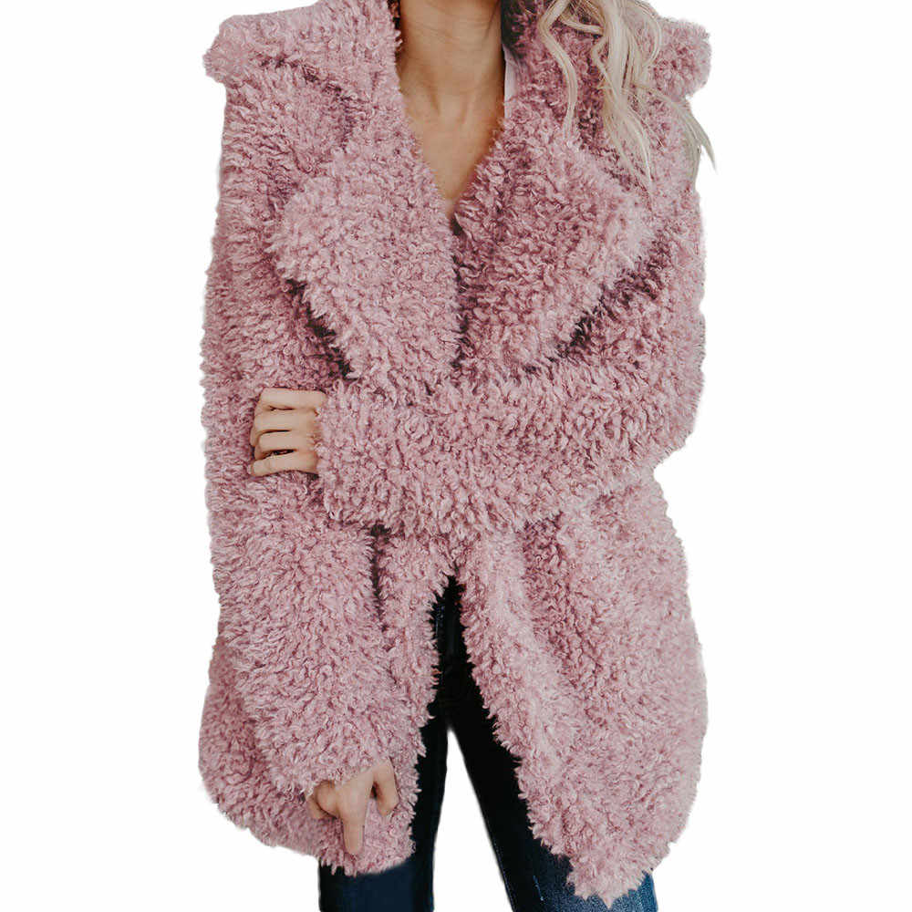 fur coat Womens Ladies Warm Artificial Wool Coat  Jacket Lapel Winter Outerwear Winter Tops Fux Fur Long Sleeve Lapel coat