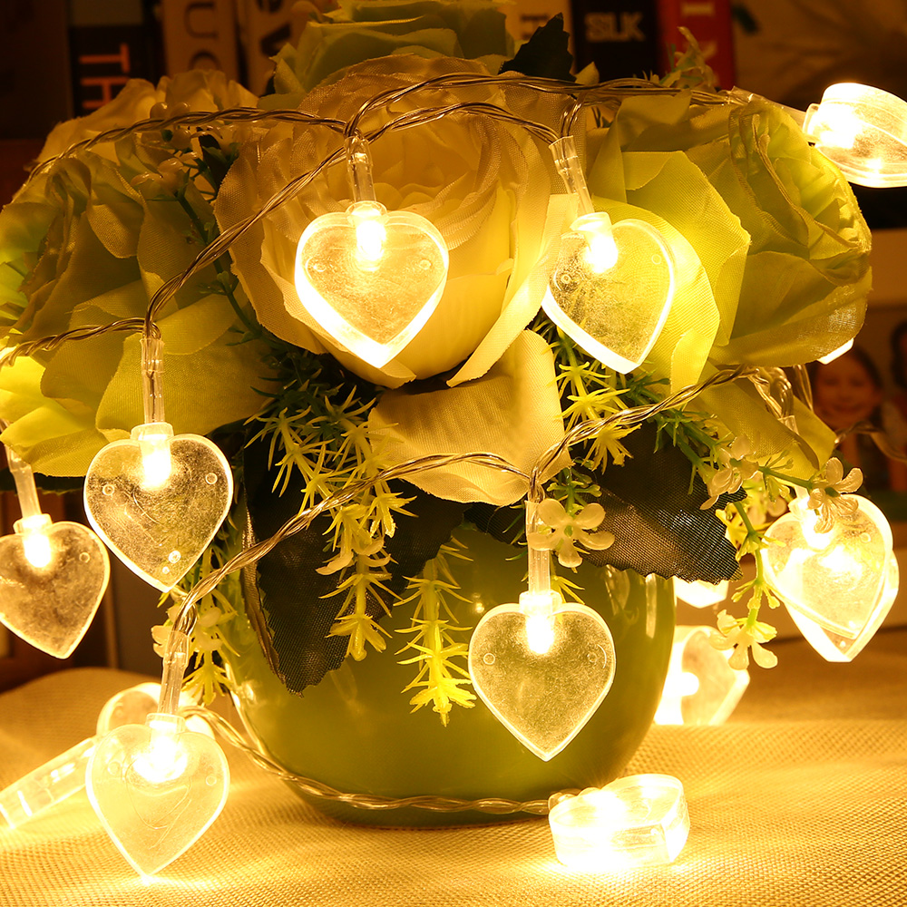 Warm White Battery Powered String Lights 2.2M 10 LED Heart Shaped For  Outdoor Garden