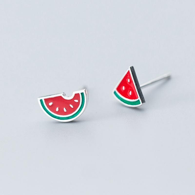 Solid 925 Sterling Silver Green Enamel Watermelon Summer Charm Stud Earrings