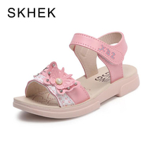SKHEK Beautiful Butterfly Girl Sandals Kids PU Leather 2018 Princess Girls Sandal For Baby Shoes Children Sandals Red Pink girls shoes kids baby elegant crystal hollow princess shoes sandals baby sandalias kids pu sandal for girl summer shoes