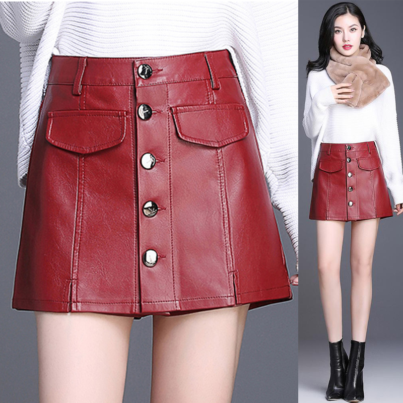Winter Fall 2018 New Female Ladies Buttons Wine Red Black Pu Leather Shorts Skirt , Women Slim 4xl Single Breasted Casual Shorts