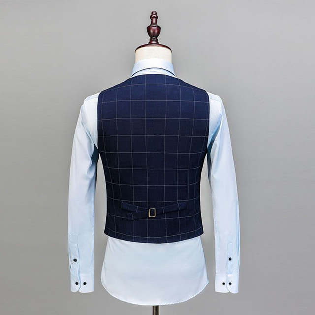 2019 Royal Blue 3 Pieces Mens Suits Plaid Slim Fit Wedding Suits Groom Tweed Wool Tuxedos for Wedding (Jacket+Pants+Vest)  3