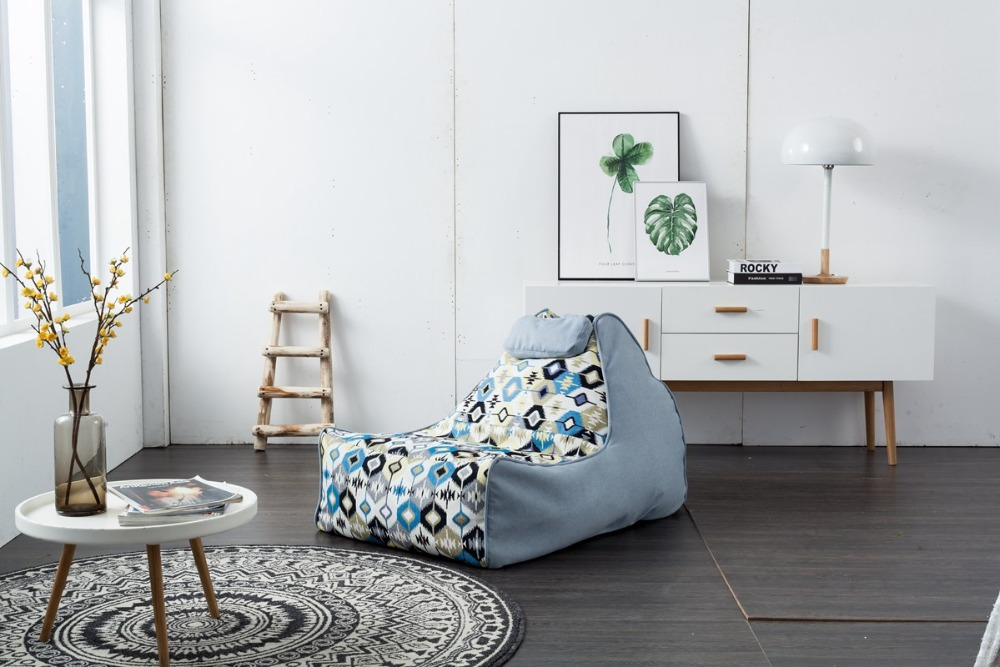 2018 New Product Modern Bean Bag Lazy Sofa Leisure Chair Contemporary Living Room Furniture Cushion Cover Only