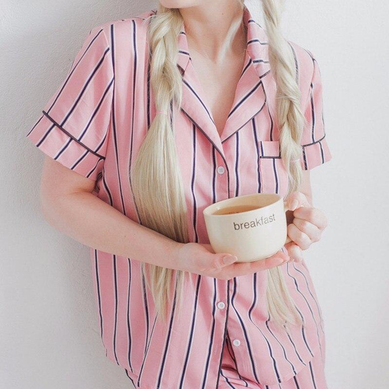 Summer 2018 New Fashion Women Pajamas Turn-down Collar Sleepwear 2 Two Piece Set Shirt+Shorts Striped Casual Pajama Set 1
