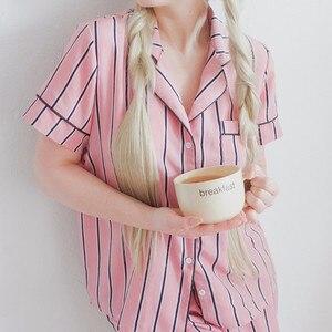 Image 2 - RUGOD קיץ 2020 חדש אופנה נשים פיג מה תורו למטה צווארון הלבשת 2 שתי חתיכה להגדיר חולצה + מכנסי פסים סט פיג מה מקרית