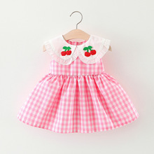 New Summer Baby Cherry Dresses Girl Clothes Cotton Plaid Dress Sleeveless A-Line Princess Toddler Babies
