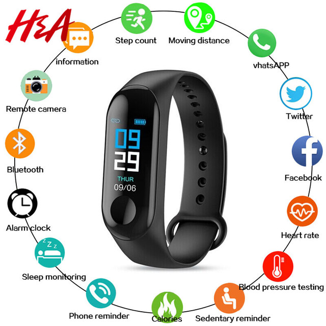 H&A M3 Smart Bracelet Blood Pressure & Heart Rate Monitor Colorful Touch Screen Smart Band Wristband Step Counter Sport Bracelet