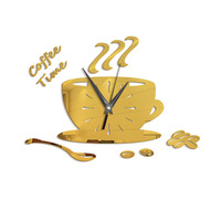 1 SET New Modern DIY Clock Coffee Cup Wall Sticker Unique Clock Acrylic Wall Decor Kitchen Living Room Bedroom Decors 35*25cm