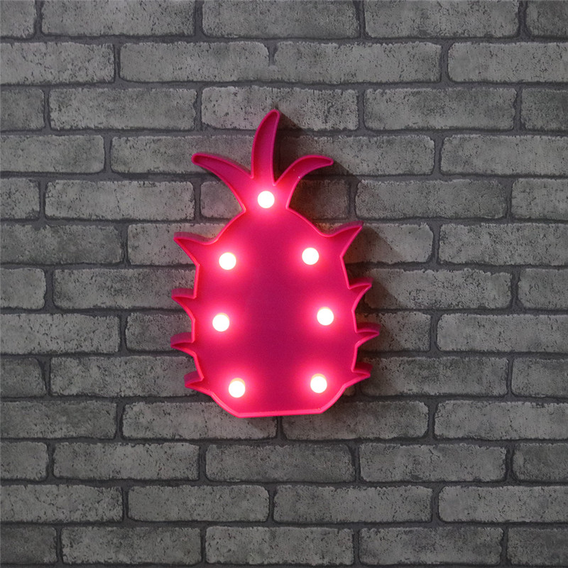 Rose Red LED Marquee Sign Night Light For Wedding Decor Fruits Light Indoor Wall Decoration Light Up