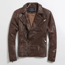 2017 New Men Brown Genuine Leather Biker Jacket Stand Collar Real Sheepskin Slim Fit Short Winter Motorcycle Coat FREE SHIPPING