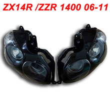 For 06-11 Kawasaki ZX14R ZX 14R ZZR 1400 Motorcycle Front Headlight Head Light Lamp Headlamp CLEAR 2006 2007 2008 2009 2010 2011 high quality cnc floating front brake disc rotors for kawasaki ninja zzr1400 zx14r zx 14r zx1400 zx 1400 1400cc 2006 2007