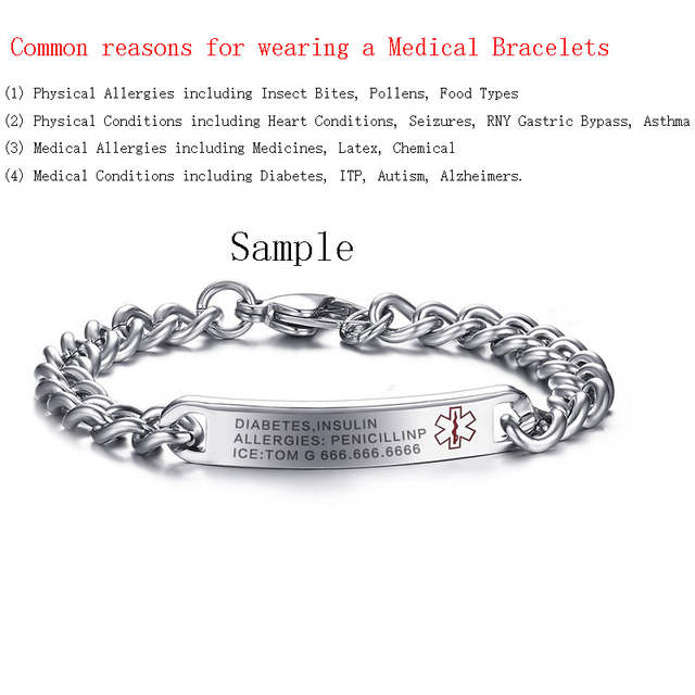 Placeholder Vnox Free Engraved Medical Alert Bracelet Bangle For Women Stainless Steel Not Allergic