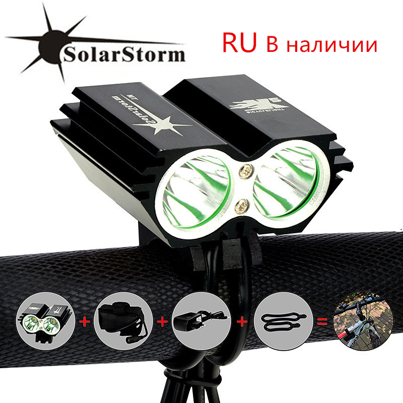 USB Rechargeable Bicycle Head Light Double LED Bike Lamp 5000LM Rotating mount