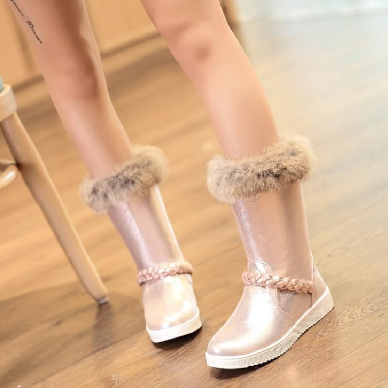 ankle boots for women winter boots women fur snow boots female shoes woman flat heel silver red golden girl warm boot &6017