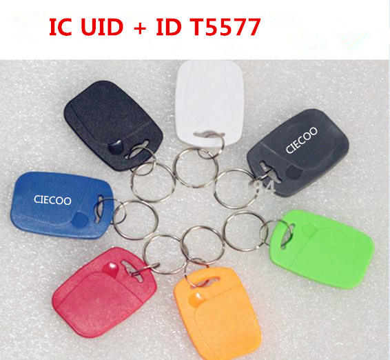 15 pcs/lot Dual Chip Frequency RFID 13.56Mhz 1K UID and  T5577 125 kHz ID key tag Readable Writable Rewrite blue key fob tags