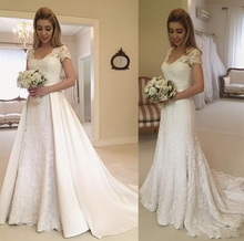2019 Newest Short Sleeve Lace Wedding Dresses V-neck Satin Detachable Train Bridal A-line Gowns Bride