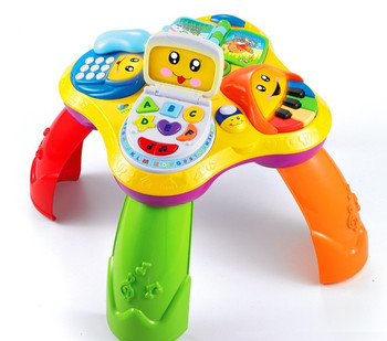 Multi-function Laugh&Learn Fun with Friends Musical Table desk baby Early education Growing toy 4 patterns book/PC/ phone/piano