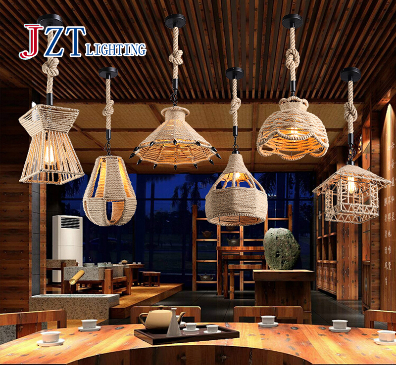 Z American Vintage led lamp Rope creative store ceiling lamp pendant lighting Cafe loft lamp restaurant droplight vintage wicker pendant lamp hand made knitted hemp rope iron coffee shop pendant lamps loft lamp american lamp free shipping