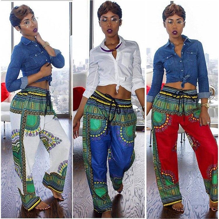 Women Bohemia Totem Digital Printing Pants 2018 Drawstring Wide Leg Pants Loose Straight Trousers Long Female Plus Size Trousers