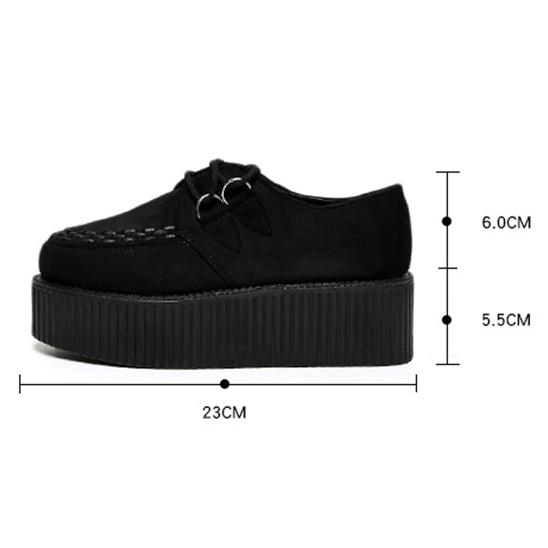 Women Casual Shoes Creepers Women Shoes Flat Platform Shoes Black Lace-Up Round Toe Creepers Flats Ladies Shoes Free Shipping