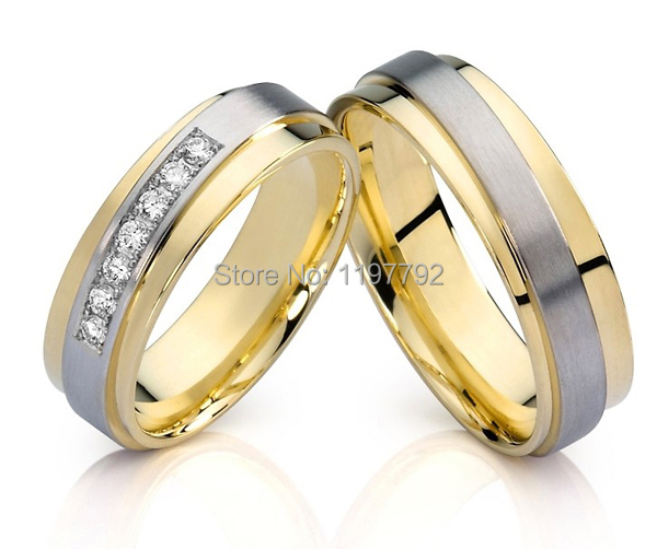 top quality custom design made gold color Mens and Womens Wedding Band engagement rings Sets for couples