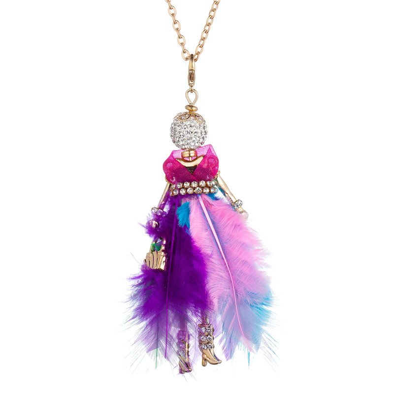 WNGMNGL 2018 New Pink Blue Color Feather Dress handbag Crystal Long Doll Pendants Necklace For Women Statement Fashion Jewelry in Pendant Necklaces from Jewelry Accessories