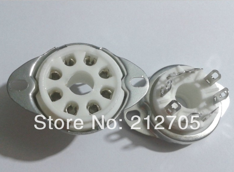 10pcs 8pin Ceramic Vacuum Tube Socket Top Mount Octal Valve Base Adapter
