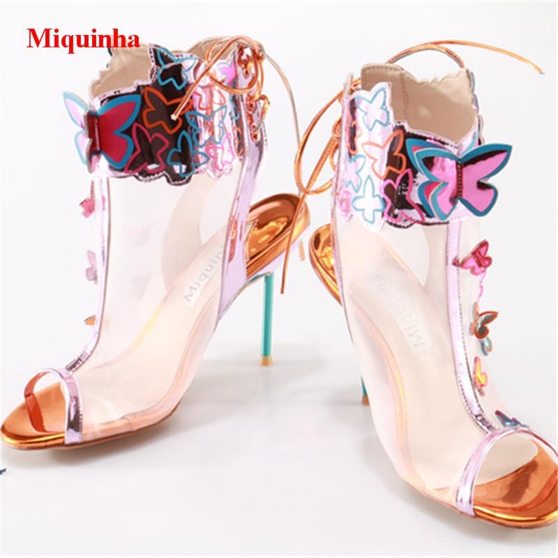 Zapatos Thin Las Mariposa Mujeres Mesh Slingback 2018 Appliques Toe Sandalias Air Verano Peep Casuales Encaje Hasta Heel gqAcw71fPZ