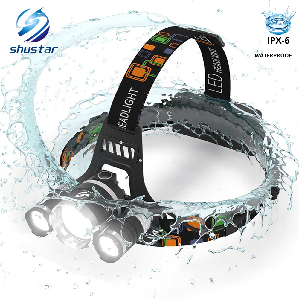High Power LED Headlamp 3 XT6 LED Headlight Waterproof 4 Lighting Modes Fishing Lamp Use 2 X 18650 Batteries
