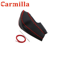 Leather Gear Head Shift Knob Cover ABS Chrome Shift Head Knob Handball Cover Case For Nissan