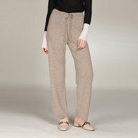 2018 New Autumn Fashion Cashmere Pants Women Warm Loose Pants Solid Color 100% Pure Cashmere Winter Wide Leg Pants Elastic Waist