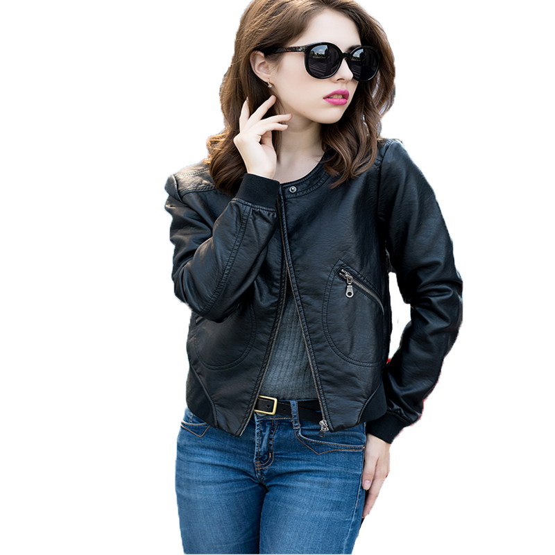 Women Casual   Leather   Jacket New 2018 Spring Autumn Long Sleeve Slim Black Pu Jacket Ladies Plus Size 5xl Biker   Leather   Jacket