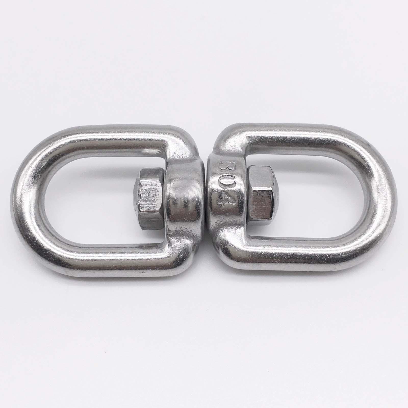M8 Eye to Eye Swivel 304 Stainless Steel Silver Tone