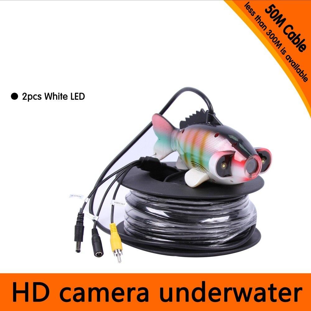42777e4178d6d 50 Metrów Głębokości Ryb, Takich Jak Underwater Camera z 2 SZTUK 2 walt  białe DIODY LED dla Fish Finder i Aparat Do Nurkowania