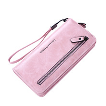 New fashion Two-Fold Long Wallet Women Style Zipper Vintage PU Leather Multifunction Clutch Purse ID Card Holder Phone Bag new fashion women wallets pu leather zipper wallet women s long purse two fold clutch card bag casual hasp dollar price wallet