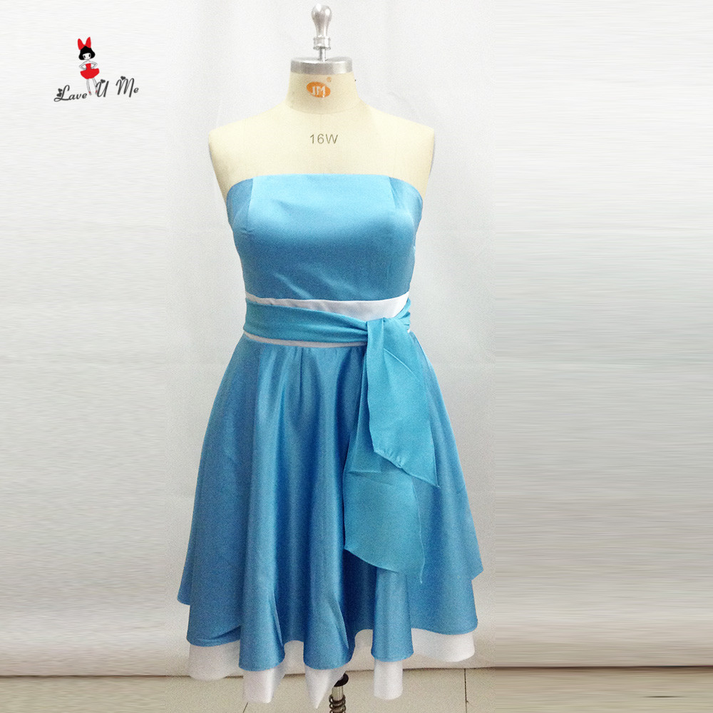 Online get cheap short ivory bridesmaid dresses aliexpress custom made plus size turquoise bridesmaid dresses short strapless ivory wedding guest girls party dress 2017 ombrellifo Images