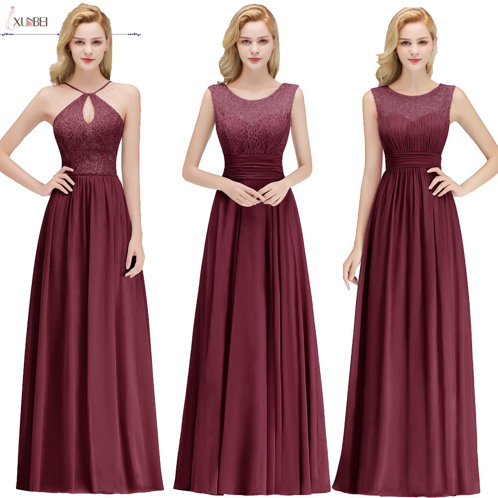Robe Demoiselle Bridesmaid-Dresses Party-Gowns Chiffon Wedding Burgundy Lace D'honneur