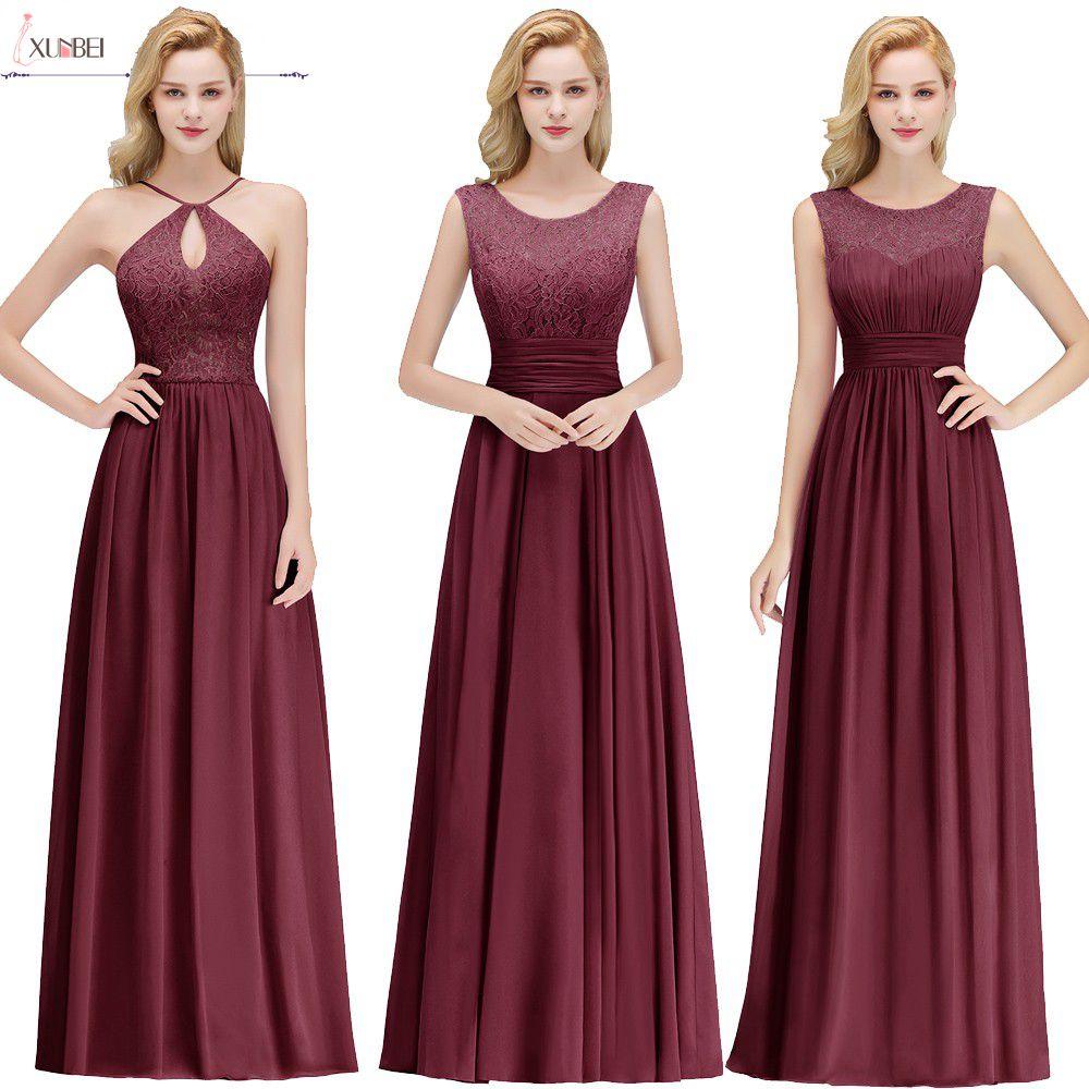 Hot Sale Robe Demoiselle Dhonneur A Line Burgundy Lace